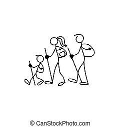 famille, icône, figure bâton, vecteur