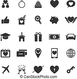 famille, icônes, blanc, fond