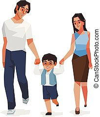 famille, illustraion., fils, maman, papa, vecteur, et
