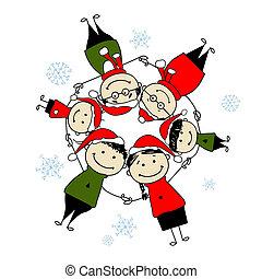 famille, illustration, conception, joyeux, christmas!, ton, heureux