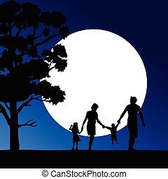 famille, illustration, heureux