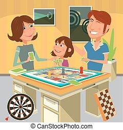 famille, illustration, jeu, vecteur, planche, jouer