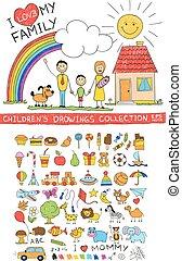 famille, illustration, main, enfant, dessin, heureux
