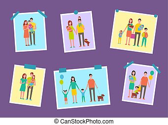famille, images, illustration, vecteur, parents, heureux