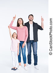 famille, indiquer haut, jeune, doigts, blanc, heureux