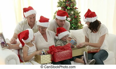 famille, intergenerational, christm