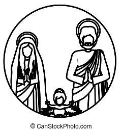 famille, jésus, sacré, bébé, contour, circulaire