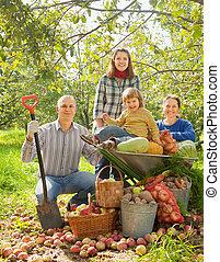 famille, jardin, heureux