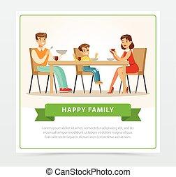 famille, jeune, ensemble, petit déjeuner, avoir, heureux