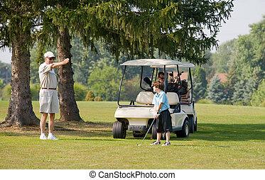 famille, jouer golf