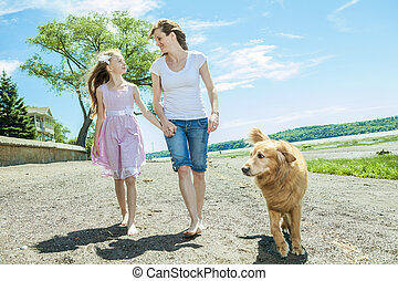 famille, jouer, time., plage, jour, heureux