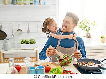 famille, kitchen., heureux