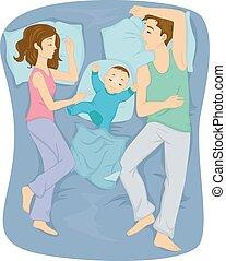 famille, lit, dormir