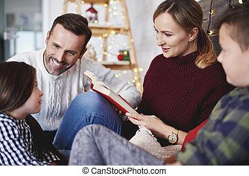 famille, livre, temps, lecture, noël, heureux