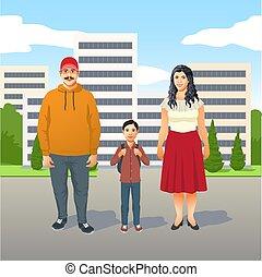 famille, mère, père, amical, jeune, latino, leur, fils, heureux