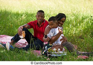 famille, mère, parc, enfant, père, étreindre, américain, africaine