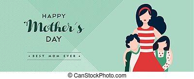 famille, mères, vacances, bannière, jour, heureux