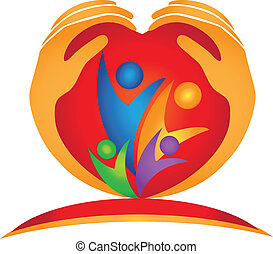 famille, mains, et, forme coeur, logo