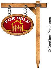 famille, maison bois, -, vente, mètre, signe