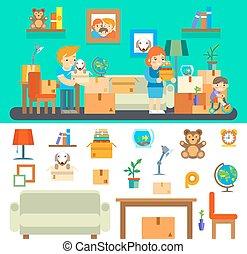 famille, maison, changer, nouveau, apartment., mouvements