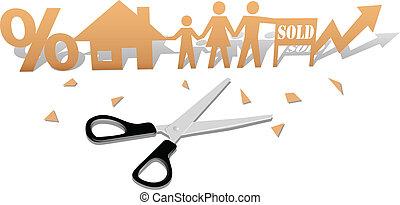famille, maison, facile, maison, coupure, achat