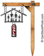 famille, maison, -, métal, mètre, signe vente