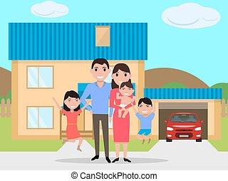 famille, maison, vecteur, nouveau, acheté, dessin animé, heureux