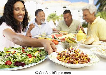 famille manger, une, fresque al, repas