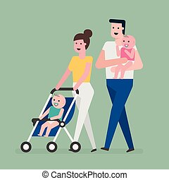 famille, marche.
