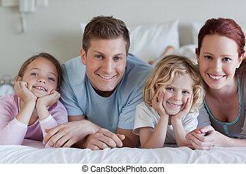 famille, mensonge, lit