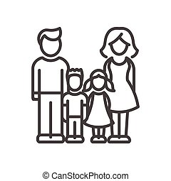 famille, moderne, -, deux, vecteur, conception, ligne, enfants, illustrative, icône