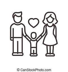 famille, moderne, -, une, vecteur, conception, enfant, ligne, illustrative, icône