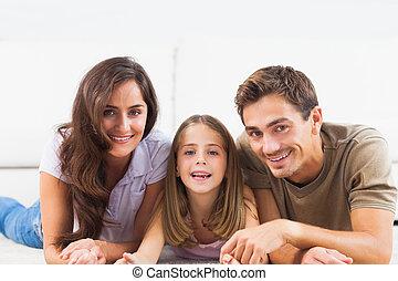 famille, moquette, mensonge