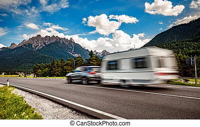 famille, motorhome, voyage vacances, vacances, voyage