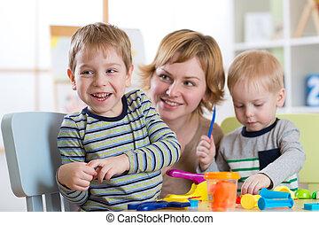 famille, moulé, depuis, argile, toys., jeu mère, à, children.