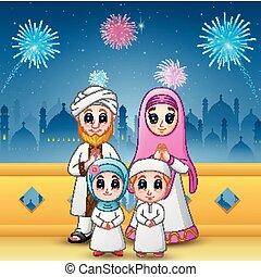 famille, mubarak, feux artifice, mosquée, eid, fond, célébrer, heureux