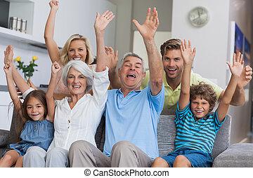 famille multi-génération, élévation, les
