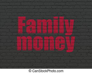famille, mur, devise argent, fond, concept: