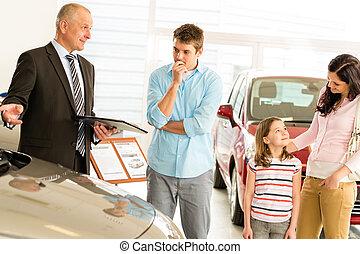 famille, offrande, voiture, jeune, véhicule, revendeur