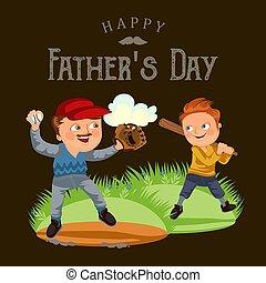 famille, pères, fils, joueur, ferait, baston, base-ball, tenue, baseballcap, papa heureux, balle, coup, main, week-end, jour, garçon, chauve-souris, fermé, illustration, gant, vecteur, jouer