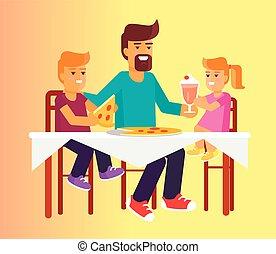 famille, pères, illustration, vecteur, jour, pizza