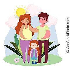 famille, papa, paysage, jour, maman, fils, étreindre