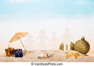 famille, papier, sand., etoile mer, dons, conque, vacances