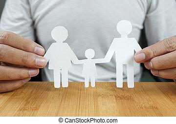 famille, papier, tenant mains, blanc, homme