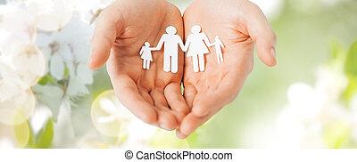 famille, papier, tenant mains, coupure, homme