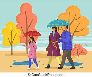 famille, parapluie, marche, parc, saison, automne, ...