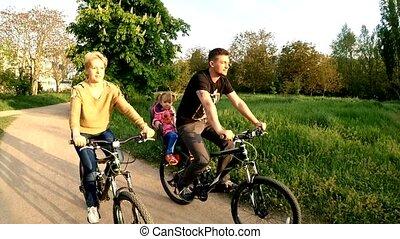 famille, parc, jeune, bicycles, vert, enfant, équitation