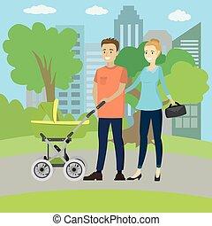 famille, parc, jeune, voiture, bébé, heureux