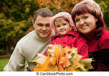 famille, parc, trois, automne, personnes, heureux