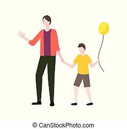 famille, parent, balloon, vecteur, enfant avoirs